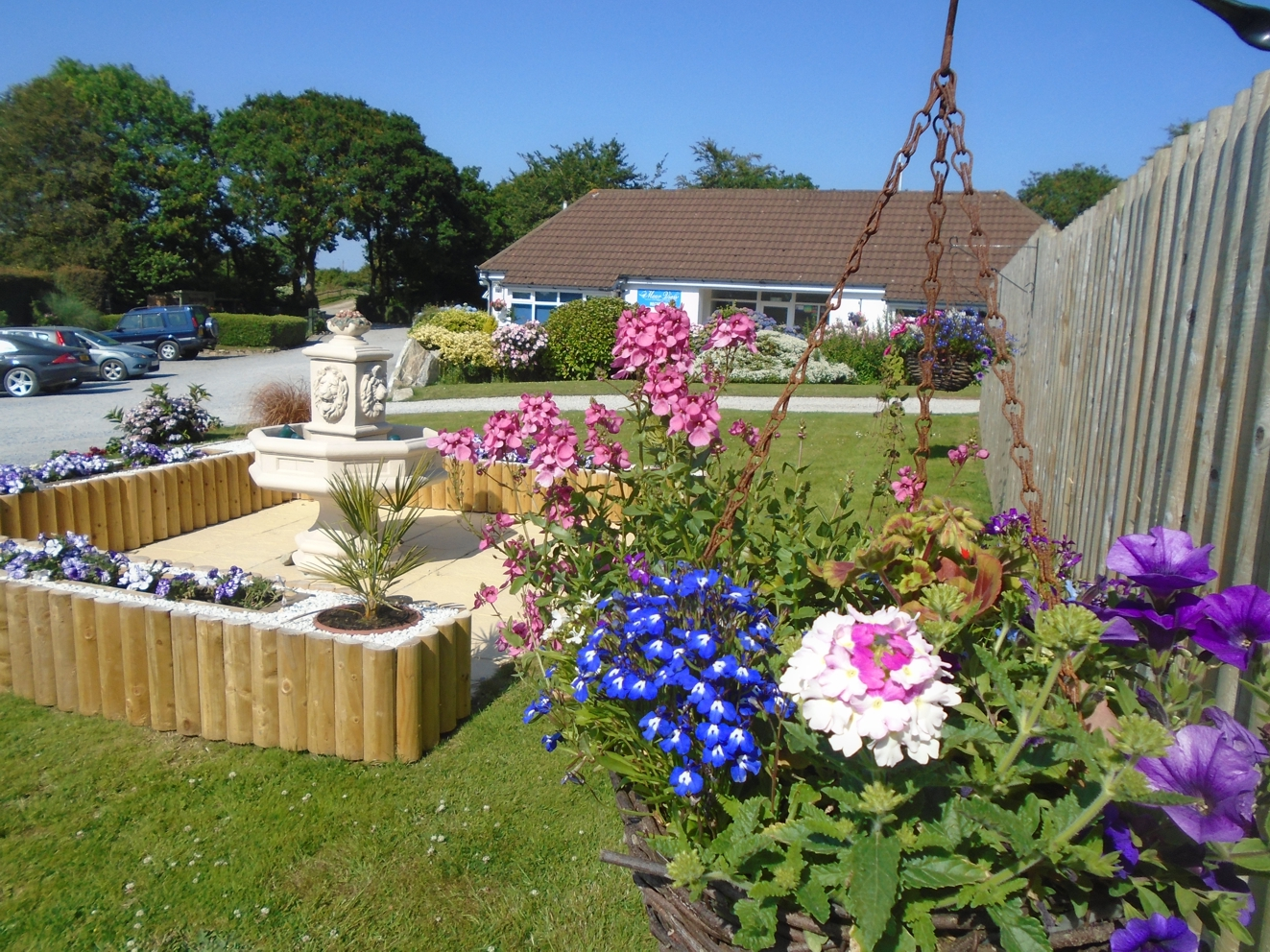 Adults only caravan park fountain and reception